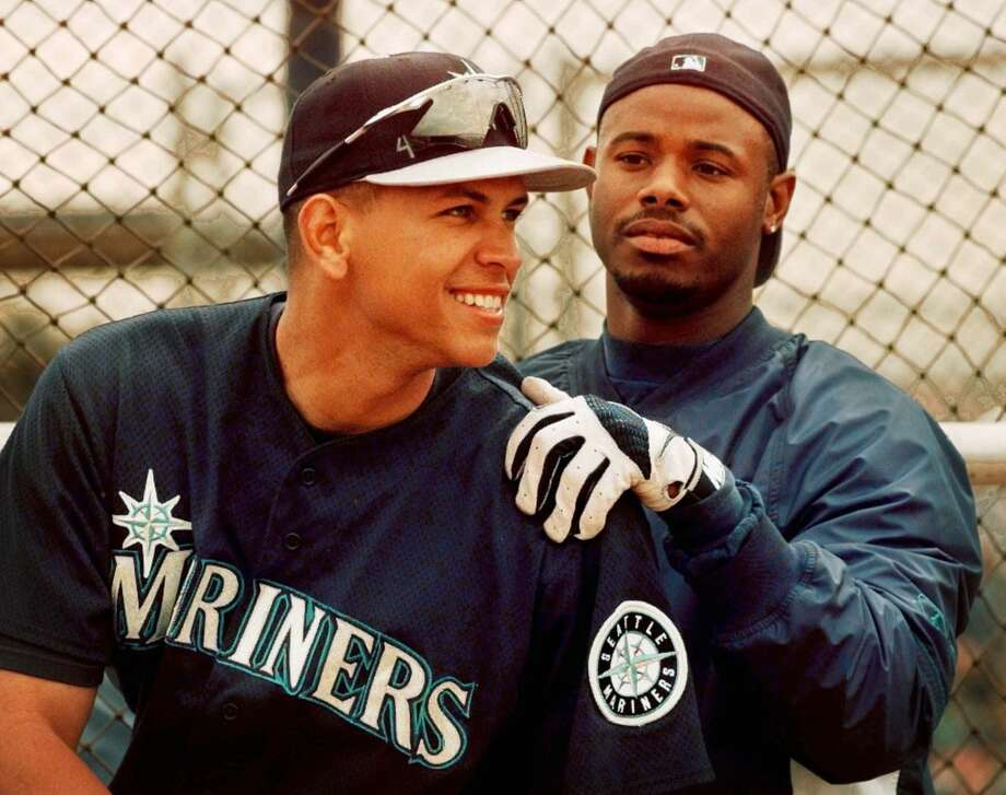 With Alex Rodriguez during spring training on March 13, 1998, in Peoria, Ariz.