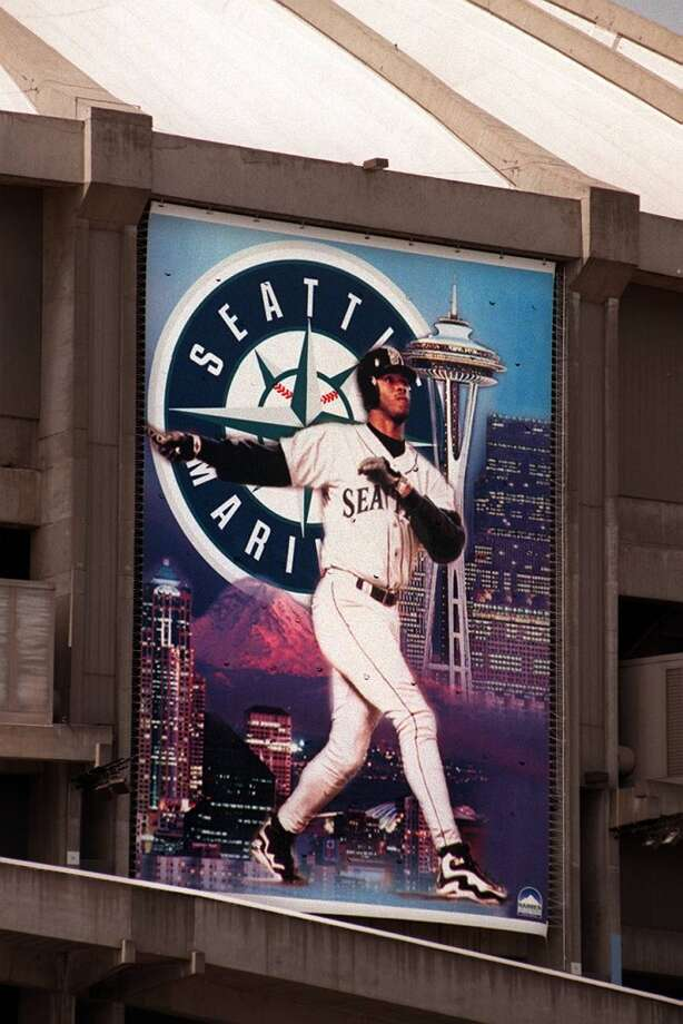 In 1998, this huge Griffey banner hung on the side of the Kingdome.  Photo: Robin Layton, Seattle P-I Archives
