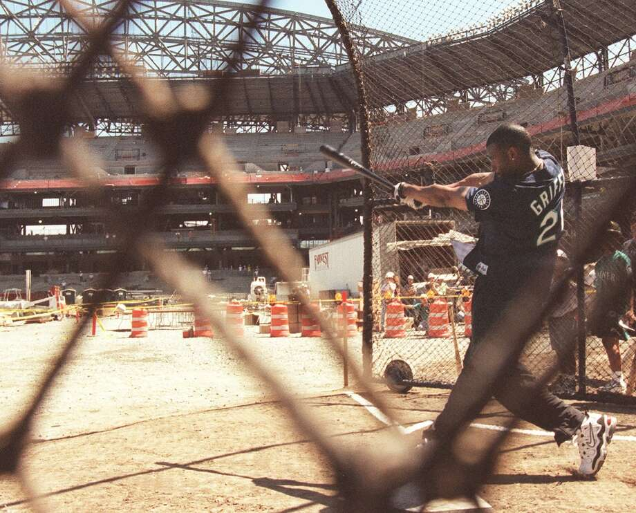 Ken Griffey Jr. powers his first home run out of Safeco Field while it is still under construction on July 29, 1998. The new stadium came to be known as ''The House that Griffey Built.''