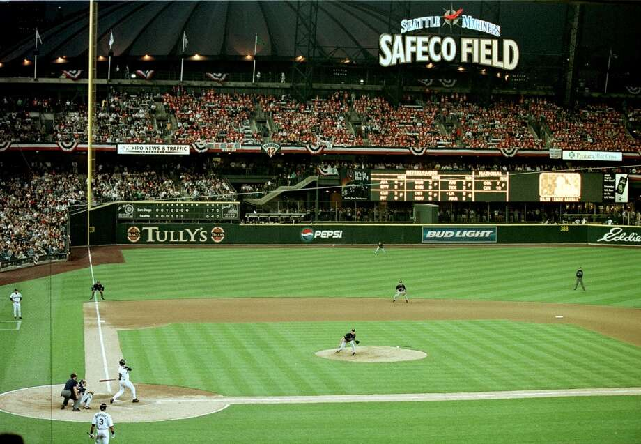 The Mariners played their first game at brand-new Safeco Field on July 15, 1999. Here, Griffey rips a double during the sixth inning of that game against the Padres. The M's lost 3-2 in front of a sell-out crowd of about 47,000.  Photo: Mike Enright, AFP / Getty Images