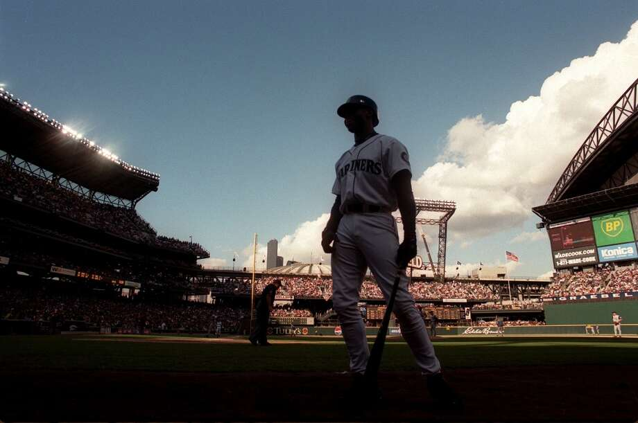 Despite all the excitement for a new stadium, Griffey was unhappy in Seattle by the end of 1999 and people started suspecting he would be traded that offseason. The caption on this Sept. 26, 1999, photo says this could be Junior's final at-bat with the Mariners. It was (until 2009).  Photo: Scott Eklund, Seattle P-I Archives