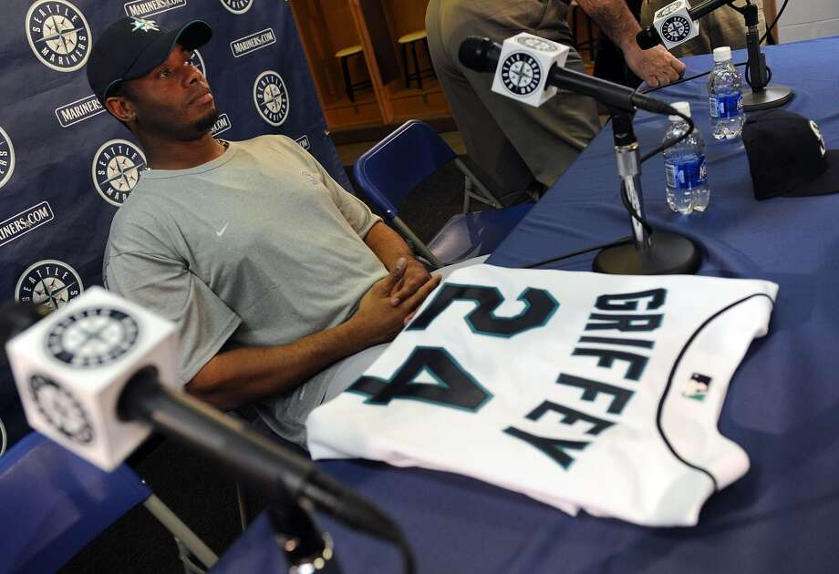 Griffey was 39 years old at the beginning of the 2009 season. Here he sits with his new Mariners jersey -- and old number -- at a news conference Feb. 21, 2009, at spring training in Peoria, Ariz.