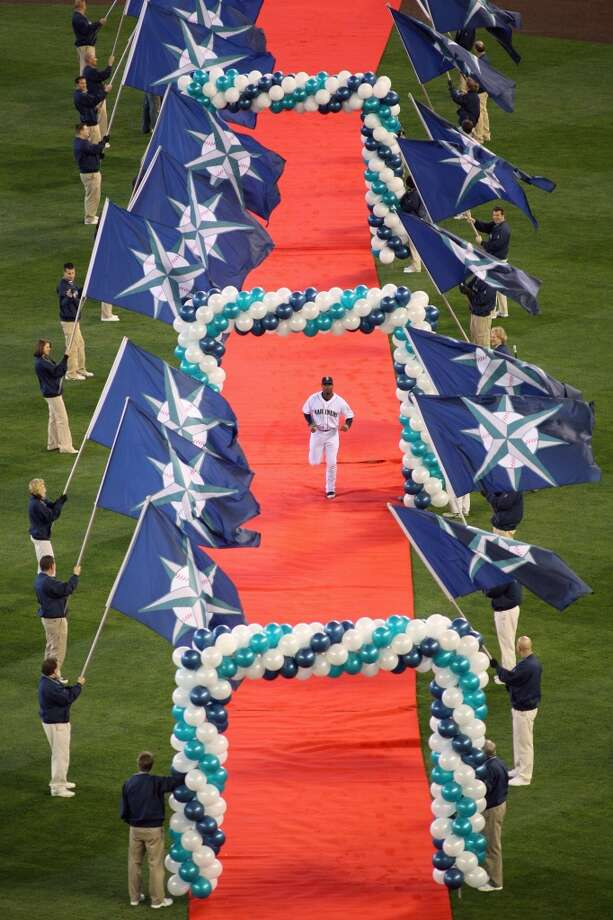 Ken Griffey Jr. is introduced during home-opener ceremonies April 14, 2009, at Safeco Field. It was his first game as a Mariner in Seattle since 1999.