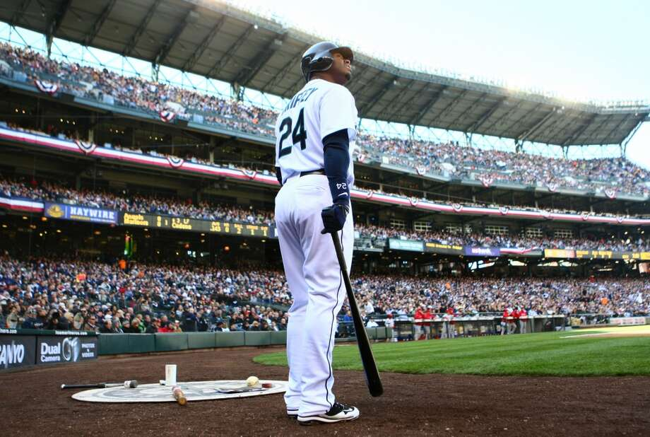 Junior gets ready for his first Seattle at-bat as a Mariner since 1999 during the home opener April 14, 2009, at Safeco Field. Fans went nuts.