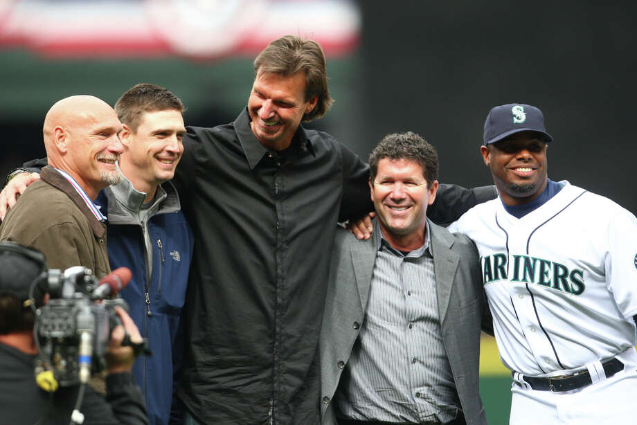 From left: Jay Buhner, Dan Wilson, Randy Johnson, Edgar Martinez and Ken Griffey Jr. reunite during opening-day ceremonies April 12, 2010, at Safeco Field. They were all integral members of the magical 1995 team.  Photo: Cliff DesPeaux, Seattlepi.com / seattlepi.com