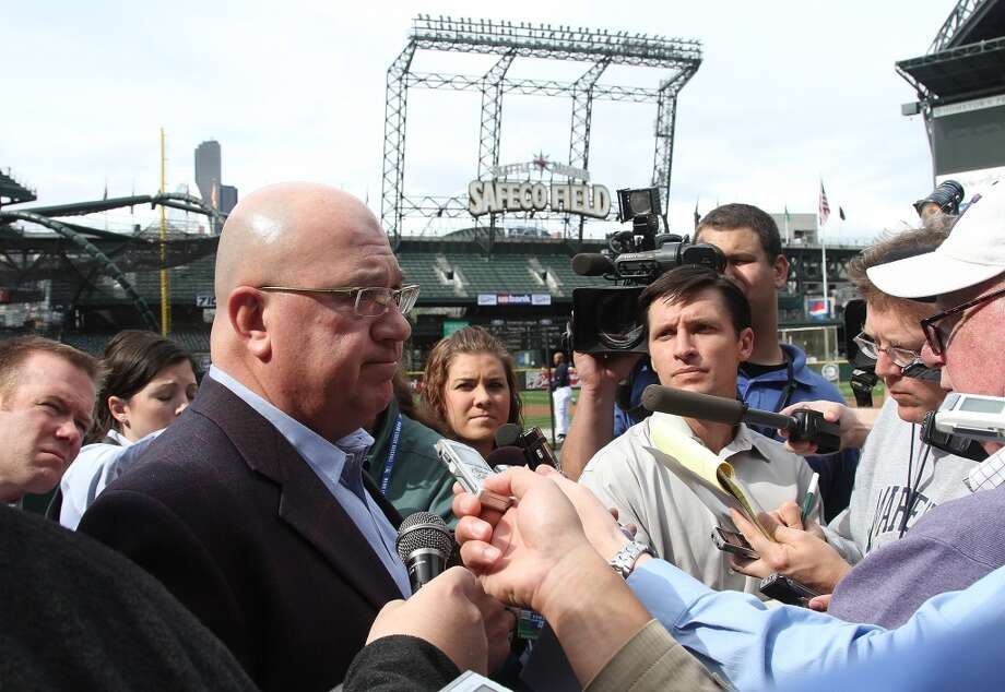 On June 2, 2010, the Mariners announced that Ken Griffey Jr. had abruptly retired during the middle of the season. Here GM Jack Zduriencik explains to a gaggle of reporters that Griffey, 40, thought he was being too much of a distraction in the clubhouse.