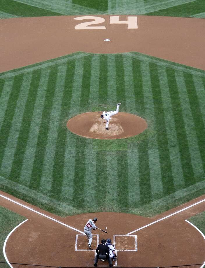 For that game June 2, 2010, against the Twins in Seattle, the Mariners honored Griffey by etching his No. 24 into the infield dirt. By the time he retired, he had hit 630 home runs -- sixth all-time in MLB history.  Photo: Otto Greule Jr, Getty Images