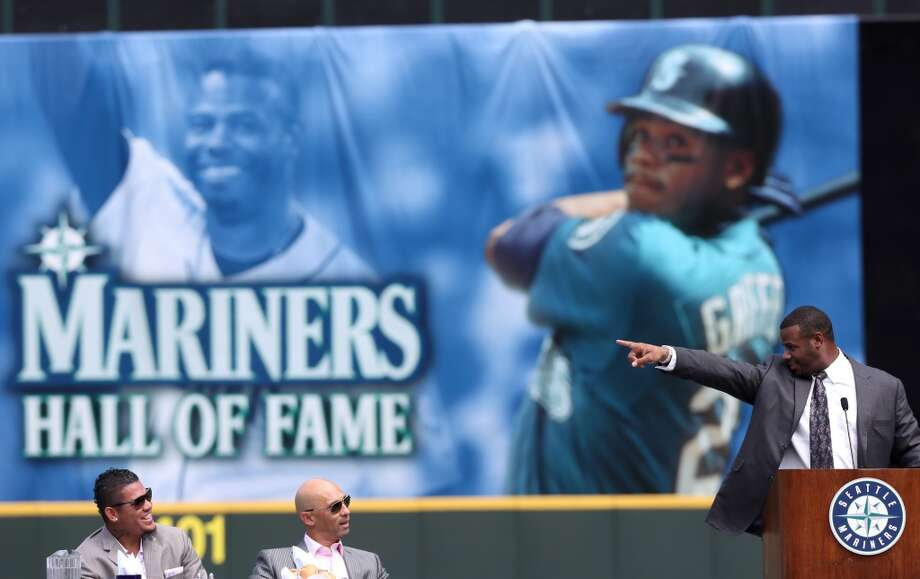 Former Seattle Mariner Ken Griffey, Jr. points as he speaks  during a luncheon honoring Griffey on Friday, August 9, 2013 at Safeco Field in Seattle. At left is Felix Hernandez and Raul Ibanez. Griffey was to be inducted into the Mariners Hall of Fame on Saturday. Photo: JOSHUA TRUJILLO, SEATTLEPI.COM