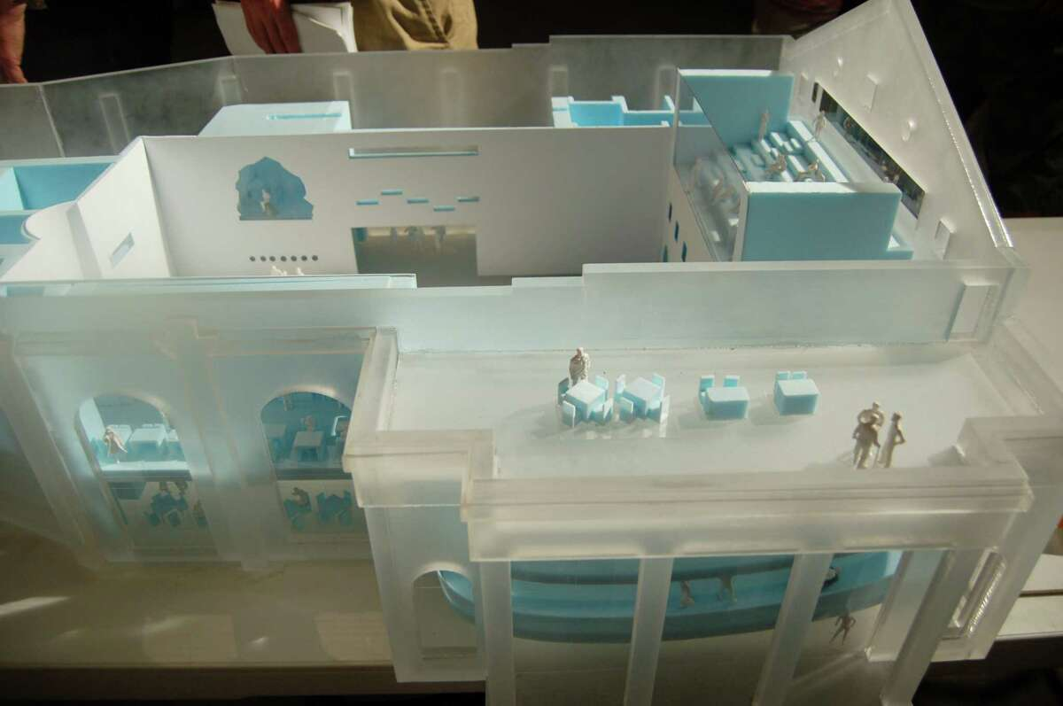 View into an architectural model of the Marina Abramovic Institute for the Preservation of Performance Art in Hudson, N.Y., Sunday Aug. 12, 2012. Marina Abramovic is planning to build a performing arts museum in Hudson. The museum is scheduled to open in 2014 and will be housed in a former movie theater. (Scott Waldman / Times Union)