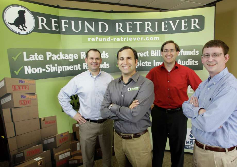 Refund Retrievers company members Zach Sartin, left, director of sales, Brian Gibbs, president, Brandon Byers, partner, and Billy Cravens, right, director of technology, pose Tuesday, July 16, 2013, in Houston. Refund Retrievers is a software company that tracks whether people are getting accurate billing invoices from their shipping companies. ( Melissa Phillip / Houston Chronicle ) Photo: Melissa Phillip, Staff / © 2013  Houston Chronicle
