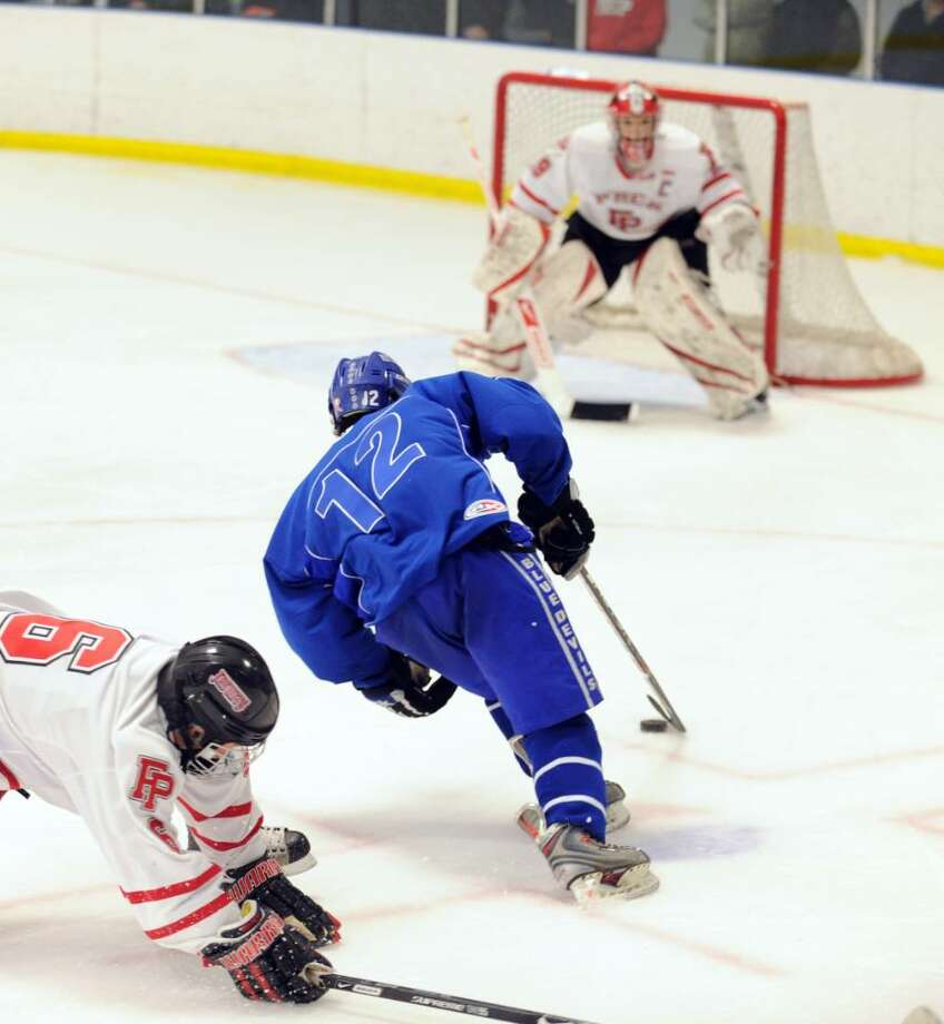 Fairfield Prep plays West Haven Wednesday night at Wonderland of Ice in Bridgeport. Photo: Autumn Driscoll / Connecticut Post