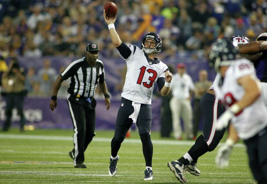 Texans backup quarterback T.J. Yates was 13 for 21 for 151 yards against the Vikings after Matt Schaub was lifted from the game. Photo: Andy King / Associated Press