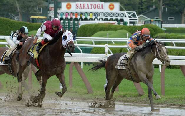 #2 Notacatbutallama ridden by Hall of Fame jockey John Velazquez holds off the late charge of North Slope with jockey Luis Saez to win the 29th running of The National Museum of Racing and Hall of Fame today Aug. 9, 2013, at the Saratoga Race Course in Saratoga Springs, N.Y.       (Skip Dickstein/Times Union) Photo: SKIP DICKSTEIN