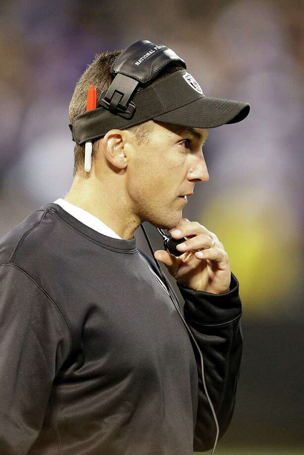 Oakland Raiders head coach Dennis Allen watches during the second quarter of an NFL preseason football game against the Dallas Cowboys in Oakland, Calif., Friday, Aug. 9, 2013. (AP Photo/Ben Margot) Photo: Ben Margot, Associated Press / AP