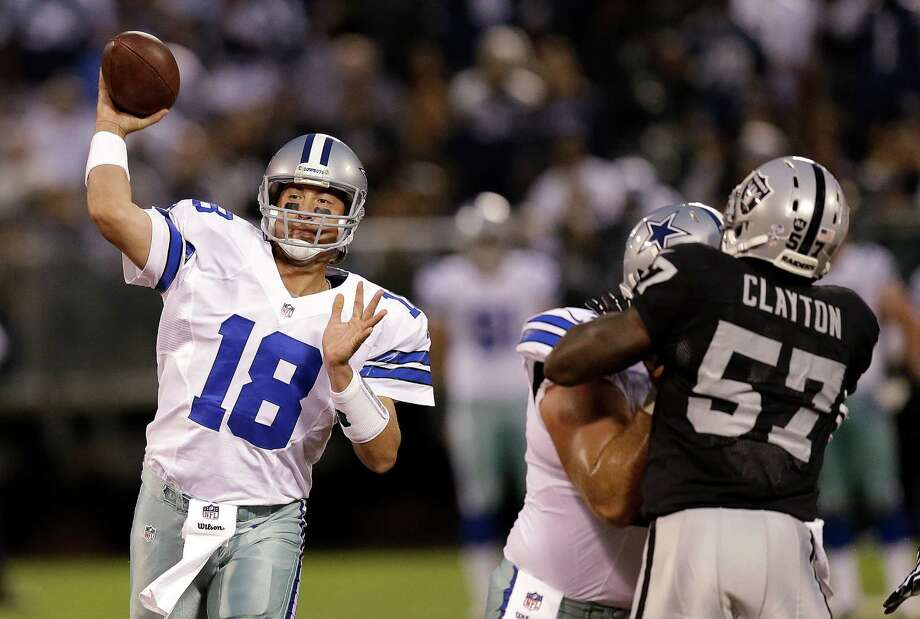 Dallas Cowboys quarterback Kyle Orton (18) passes as Oakland Raiders linebacker Keenan Clayton (57) applies pressure during the second quarter of an NFL preseason football game in Oakland, Calif., Friday, Aug. 9, 2013. (AP Photo/Ben Margot) Photo: Ben Margot, Associated Press / AP