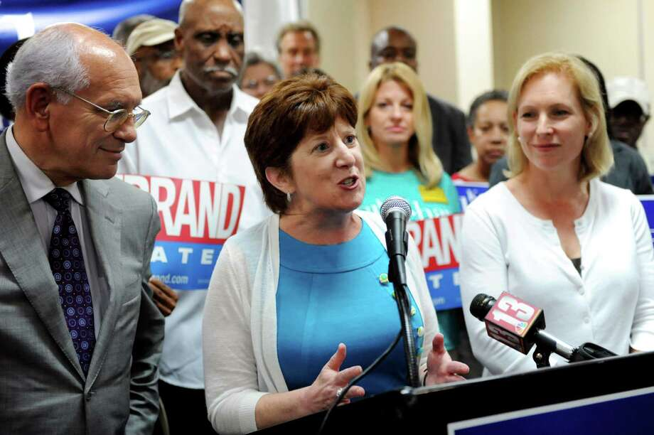 Mayoral Candidate Kathy Sheehan, center, is endorsed by Rep. Paul Tonko, left, and Sen. Kirsten E. Gillibrand during a news conference on Friday, Aug. 9, 2013, at Ramada Plaza Hotel in Albany, N.Y. (Cindy Schultz / Times Union) Photo: Cindy Schultz / 00023475A