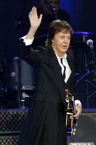 Paul McCartney greets thousands of fans on the Lands End stage during the first day of the Outside Lands music festival in Golden Gate Park. Photo: Ian C. Bates, The Chronicle