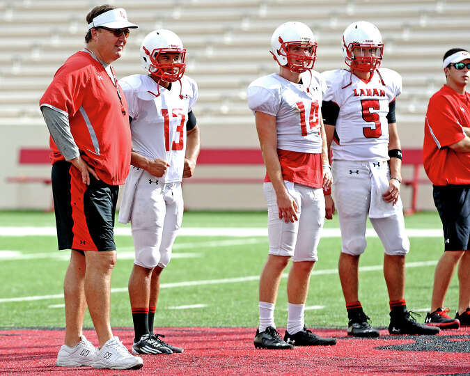 Coach Ray Woodard looks over drills before the Lamar University football scrimmage on Saturday, Augu