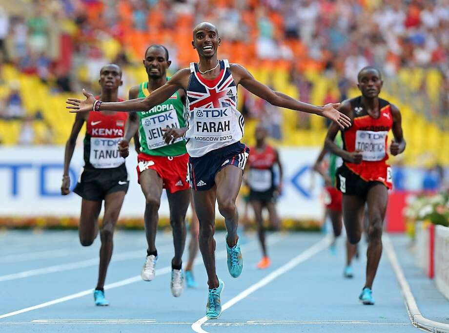 Britain's Mo Farah finishes first in the 10,000 meters, just as he did at the Olympics. Photo: Julian Finney, Getty Images