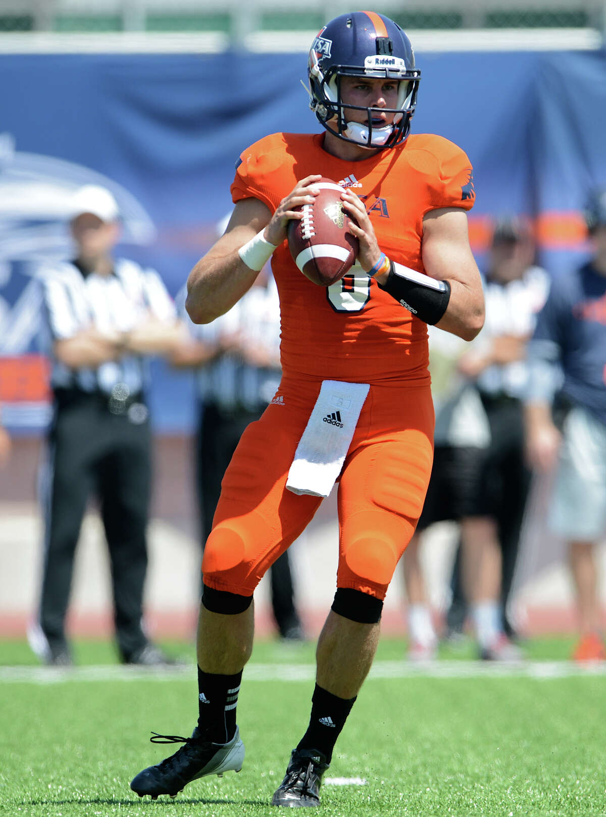 QUARTERBACK, Eric Soza: Beeville, senior - Threw for 20 touchdowns against only three interceptions last season. He made the preseason Manning Award watch list and has earned raves for early work in fall camp.PHOTO: Soza looks for an open man during the UTSA spring game at Farris Stadium on April 14, 2013.