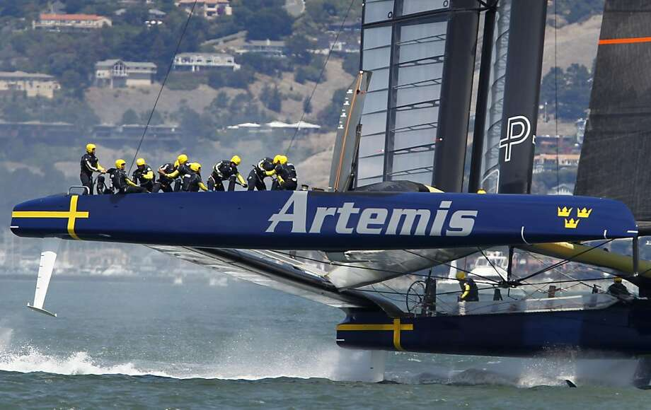 Artemis Racing, which lost a crew member in an accident on May 9, could not prevent a sweep by Luna Rossa. Photo: Paul Chinn, The Chronicle