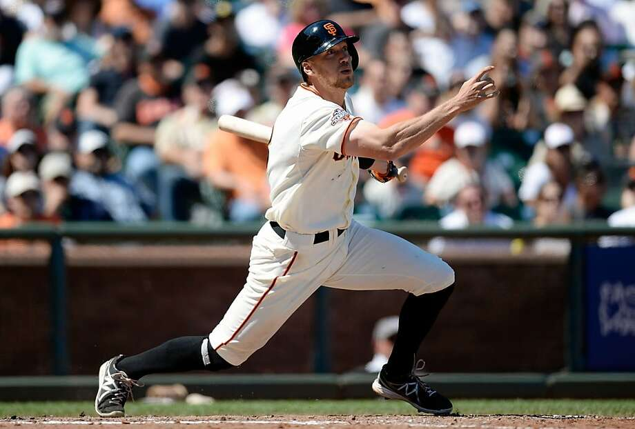 SAN FRANCISCO, CA - AUGUST 10:  Hunter Pence #8 of the San Francisco Giants hits a bases loaded two-run double scoring Marco Scutaro #19 and Brandon Belt #9 in the six inning against the Baltimore Orioles at AT&T Park on August 10, 2013 in San Francisco, California.  (Photo by Thearon W. Henderson/Getty Images) Photo: Thearon W. Henderson, Getty Images