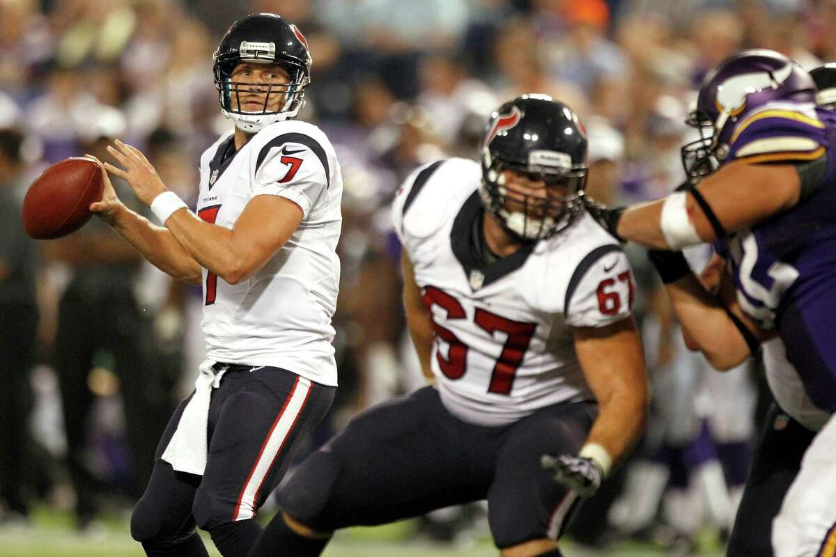 Expect to see quarterback Case Keenum (7) come off the bench to replace starter Matt Schaub when the Texans meet Miami on Saturday at Reliant Stadium.