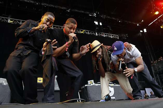 Jurassic 5 preforms at the Outside Land Festival in San Francisco, Calif. on Saturday, August 10, 2013. Photo: Ian C. Bates, The Chronicle