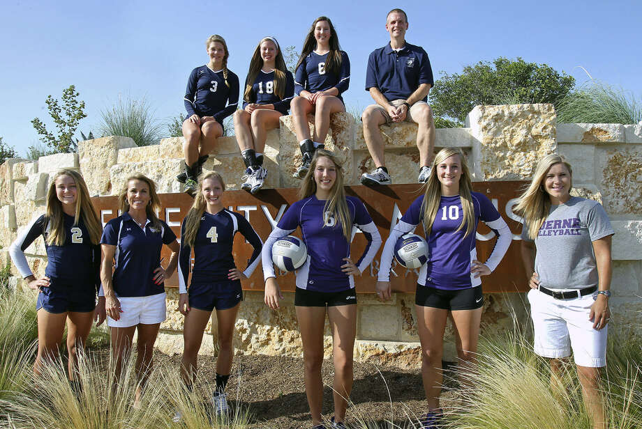 Boerne's three high schools — Boerne High, Champion and Geneva — enjoyed great volleyball success last season, with each team advancing deep into the postseason. Pictured (top row, from left) are Champion's Haley Higgins, Kelsey Lemmons, Sara Martin and coach Troy Errington; (bottom, from left) Geneva's Addie Lipe, coach Becky Rodgers and Courtney Bolin; and Boerne's Darla Deckard, McKennah Mangiafico and coach Tisha Pettibon. Photo: Tom Reel / San Antonio Express-News