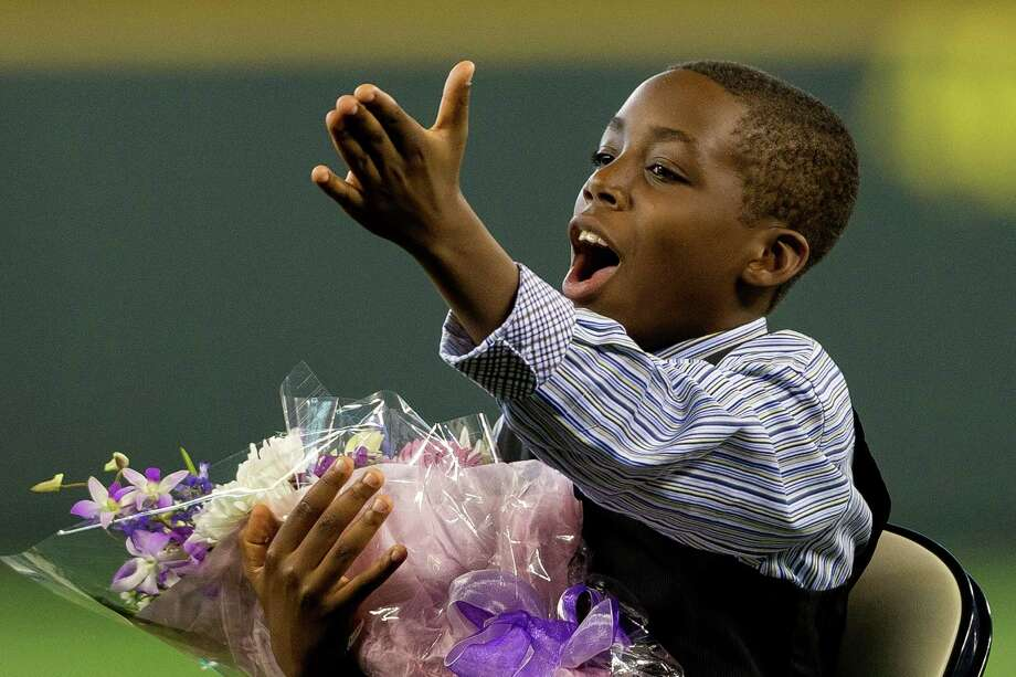 Tevin Griffey, son of Ken Griffey Jr., blows kisses to the crowd. Photo: JORDAN STEAD, SEATTLEPI.COM / SEATTLEPI.COM