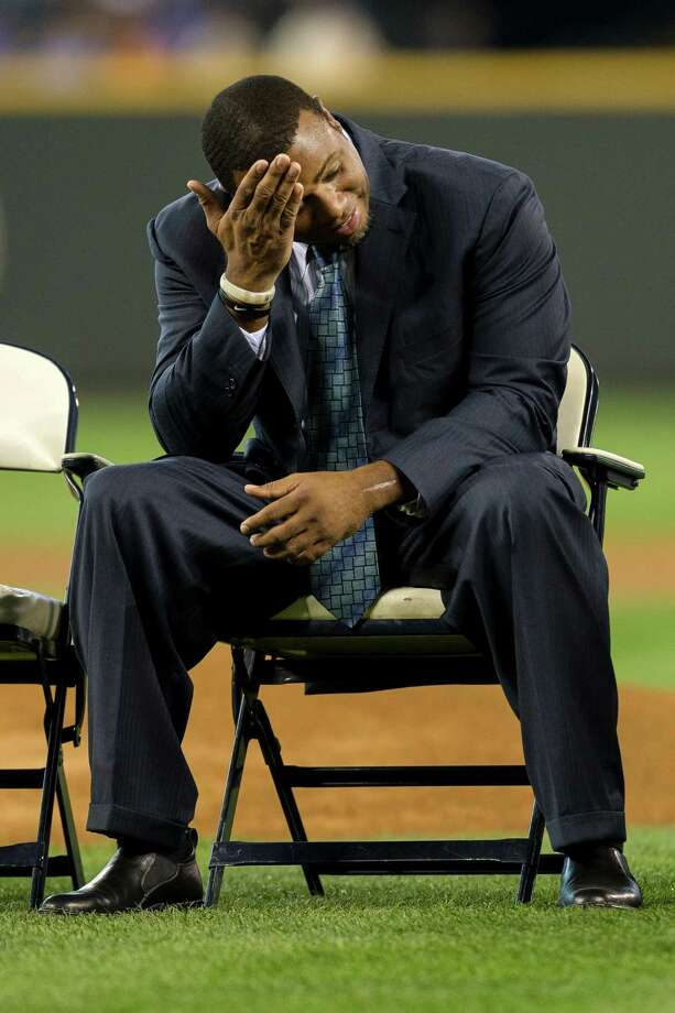 Ken Griffey Jr. wipes sweat from his brow before speaking. Photo: JORDAN STEAD, SEATTLEPI.COM / SEATTLEPI.COM
