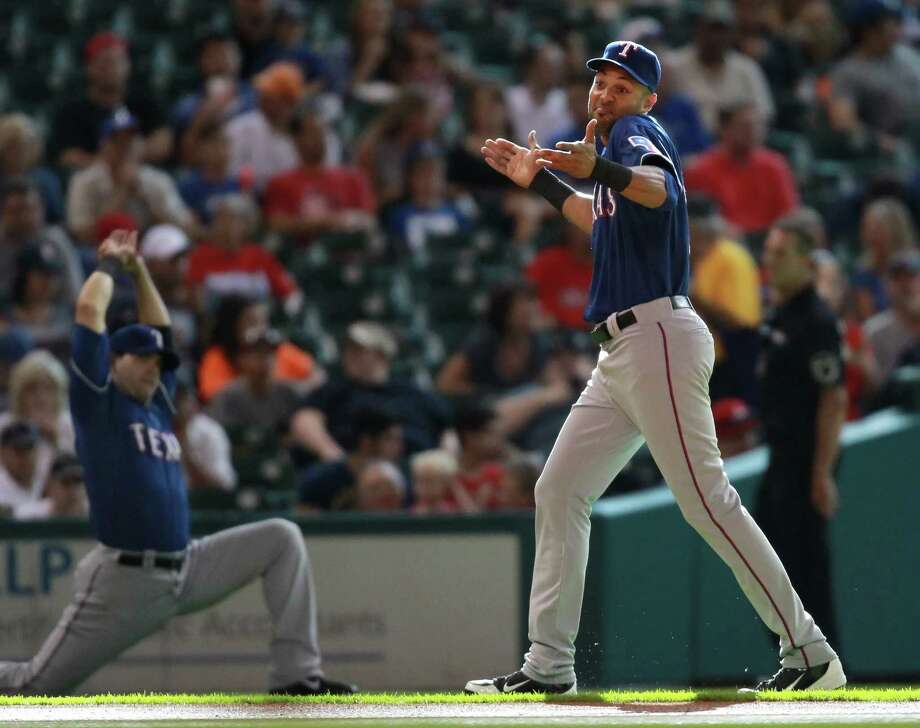 Alex Rios #51 of the Texas Rangers before a baseball game against the Houston Astros on August 10, 2013 at Minute Maid Park in Houston. Photo: Eric Christian Smith, Getty Images / 2013 Getty Images
