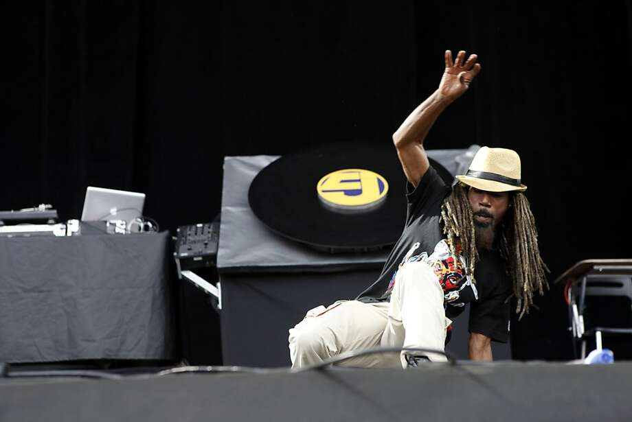 Dante Givens of Jurassic 5 performs at the Outside Lands Festival in San Francisco on Saturday. Photo: Katie Meek, The Chronicle