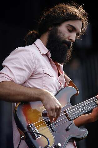 Payam Doostzadeh, bass guitar for Young the Giant, performs at the Outside Land Festival in San Francisco, Calif. on Saturday, August 10, 2013. Photo: Katie Meek, The Chronicle