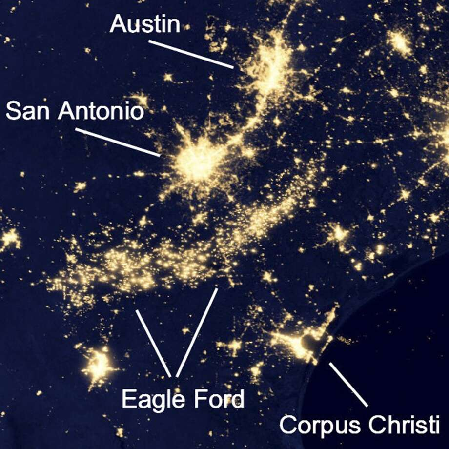 This satellite night image of South Texas clearly shows electrical lights and gas flares in the Eagle Ford Shale region south of San Antonio. Photo: NASA's Goddard Space Flight Cent