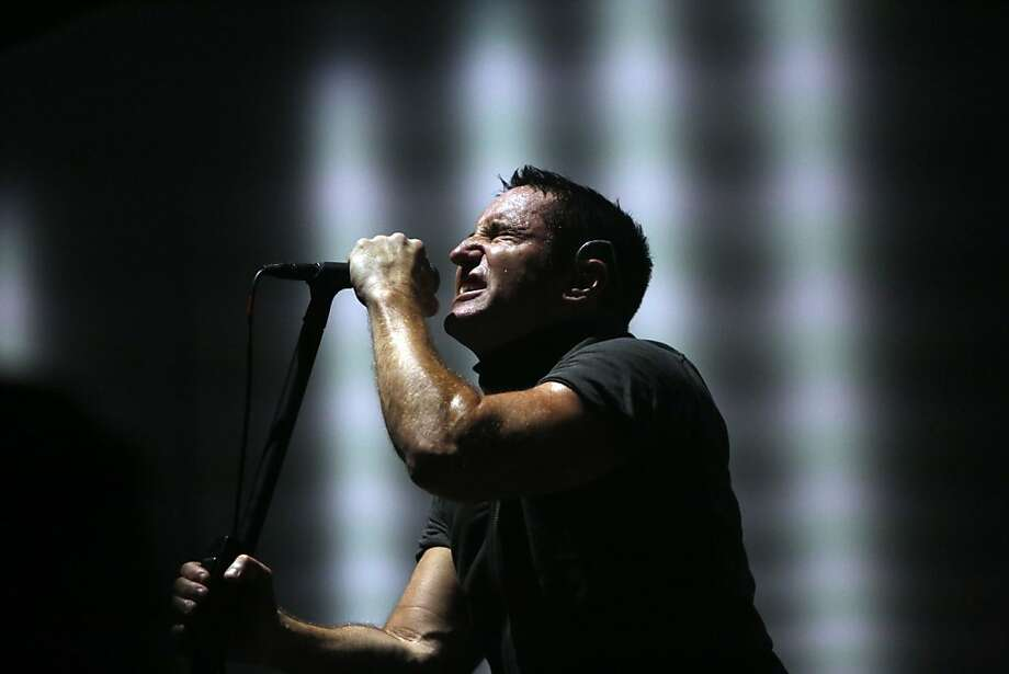 Nine Inch Nails lead singer Trent Reznor performs during the second day of the Outside Lands music festival in Golden Gate Park. Photo: Ian C. Bates, The Chronicle