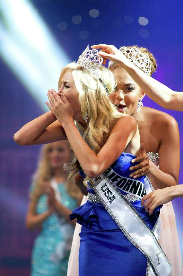 Miss California Teen USA 2013, Cassidy Wolf, is crowned Miss Teen USA 2013. She reacts on stage after the crowning from Atlantis, Paradise Island and Resort in The Bahamas on Saturday, Aug. 10, 2013. Photo: AP