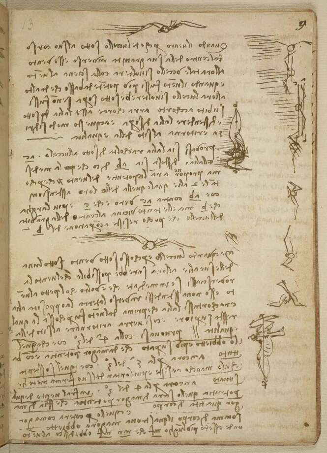 "This image provided by the Smithsonian Institution Libraries shows a page from the 1505 notebook where Leonardo da Vinci describes how a bird manipulates its wings to maintain balance and control. Leonardo da Vinci's early sketches of human flight some 400 years before the airplane's invention will make a rare visit to the Smithsonian's National Air and Space Museum in Washington. The museum announced Thursday that it will display da Vinci's ""Codex on the Flight of Birds"" between Sept. 13 and Oct. 22. The notebook from 1505 includes the famous artist's study of birds and his descriptions of how humans could one day fly. Photo: AP"