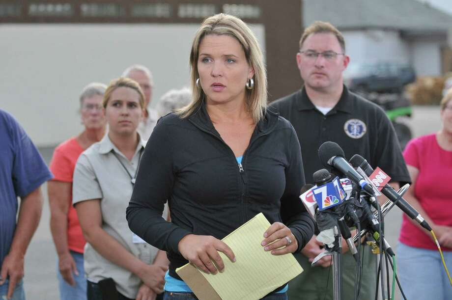 ADA County Sheriff's Office Public Information Officer Andrea Dearden  addresses the media at the Cascade Fire Station in Cascade, Idaho, Saturday, Aug. 10, 2013. The man suspected of kidnapping 16-year-old Hannah Anderson was shot dead in Idaho as the girl was rescued. Photo: AP