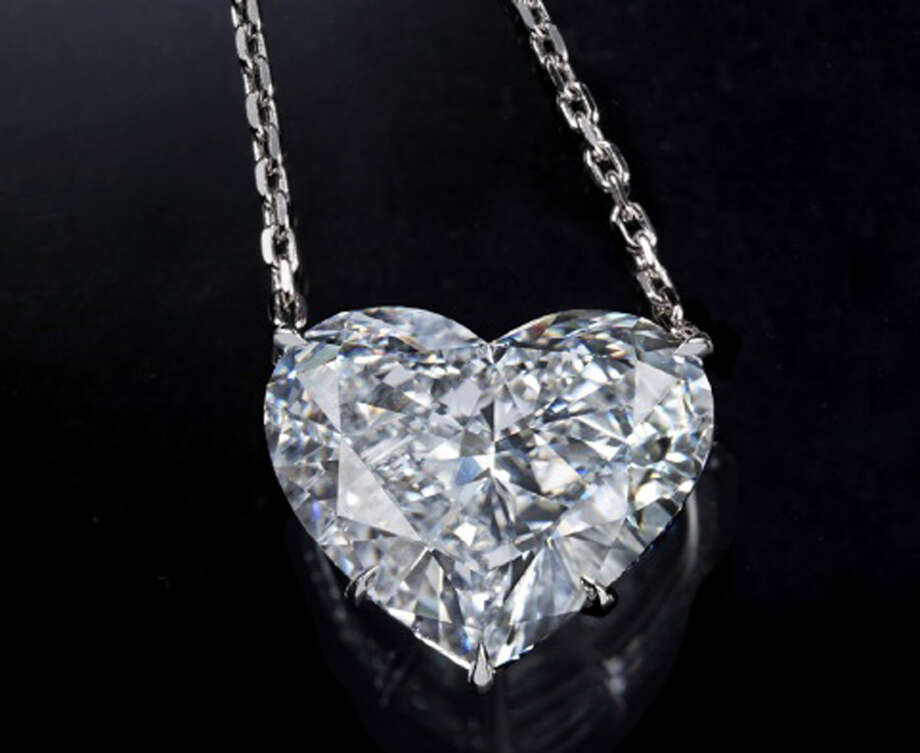 "In this undated image made available from Lloyds of London Tuesday Aug. 6, 2013, showing a diamond heart pendant, part of a $136 million (102 million euro) jewel theft. An affiliate of Lloyds of London announced Tuesday Aug. 6, 2013, a 1 million euro (US 1.3 million dlrs) reward for information leading to a diamond collection stolen at gunpoint from a jewel display in Cannes on July 28, 2013. The jewels belonging to the Israeli billionaire Lev Leviev were on display at the same hotel featured in Alfred Hitchcock's ""To Catch a Thief"" when a single gunman walked in to the ground floor show, threatened the handful of unarmed guards, and then disappeared down a side street with the $136 million cache, police have said. Photo: AP"