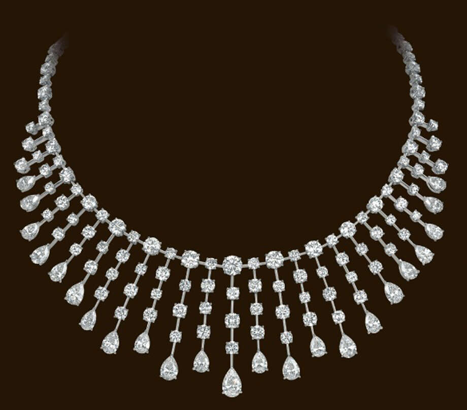 "In this undated image made available from Lloyds of London Tuesday Aug. 6, 2013, showing a jeweled necklace, part of a $136 million (102 million euro) jewel theft. An affiliate of Lloyds of London announced Tuesday Aug. 6, 2013, a 1 million euro (US 1.3 million dlrs) reward for information leading to a diamond collection stolen at gunpoint from a jewel display in Cannes on July 28, 2013. The jewels belonging to the Israeli billionaire Lev Leviev were on display at the same hotel featured in Alfred Hitchcock's ""To Catch a Thief"" when a single gunman walked in to the ground floor show, threatened the handful of unarmed guards, and then disappeared down a side street with the $136 million cache, police have said. Photo: AP"
