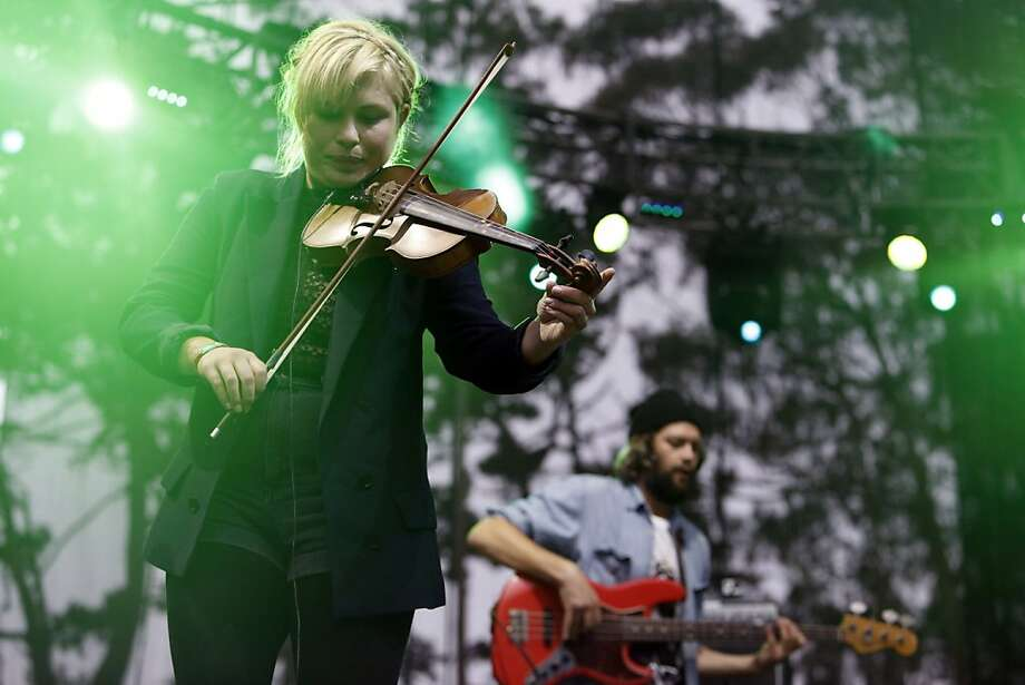 Charity Rose Thielen, violin and vocals for The Head and The Heart, preforms at the Outside Land Festival in San Francisco, Calif. on Saturday, August 10, 2013. Photo: Katie Meek, The Chronicle
