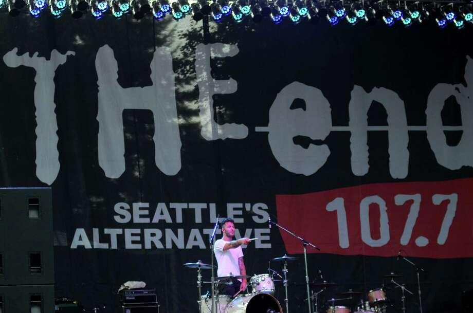 Poul Amaliel, drummer of the New Politics, points to the crowd during their performance at 107.7 The End's Summer Camp Saturday, Aug. 10, 2013, at Marymoor Park in Redmond. Photo: SY BEAN, SEATTLEPI.COM / SEATTLEPI.COM