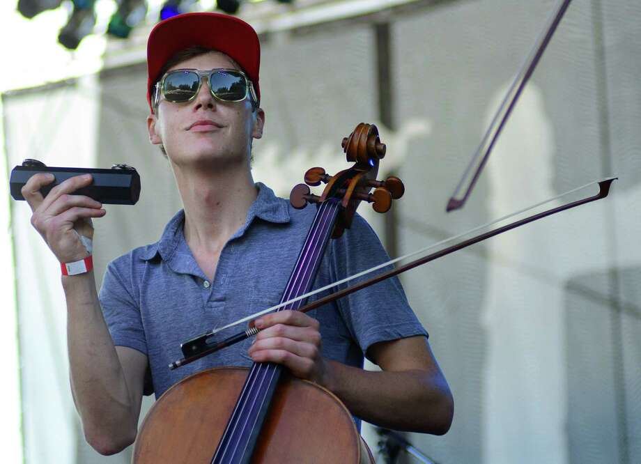Samuel Anderson, cellist of Hey Marseilles, performs on stage during the 2013 107.7 The End's Summer Camp Saturday, Aug. 10, 2013, at Marymoor Park in Redmond. Photo: SY BEAN, SEATTLEPI.COM / SEATTLEPI.COM