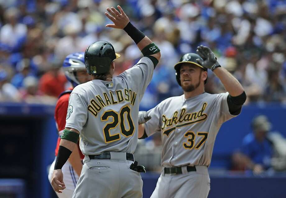 Josh Donaldson and Brandon Moss celebrate after Moss' sixth-inning homer. Bob Melvin would pick up his 700th win. Photo: Brad White, Getty Images