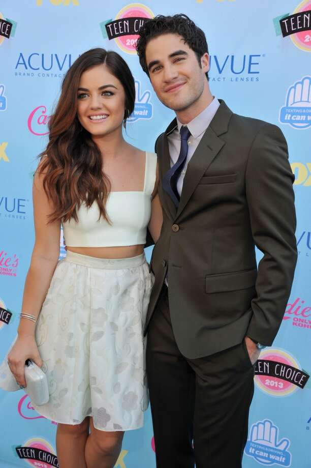 Actors Lucy Hale (L) and  Darren Criss attend the 2013 Teen Choice Awards at Gibson Amphitheatre on August 11, 2013 in Universal City, California.  (Photo by Kevin Mazur/WireImage) Photo: Kevin Mazur, WireImage