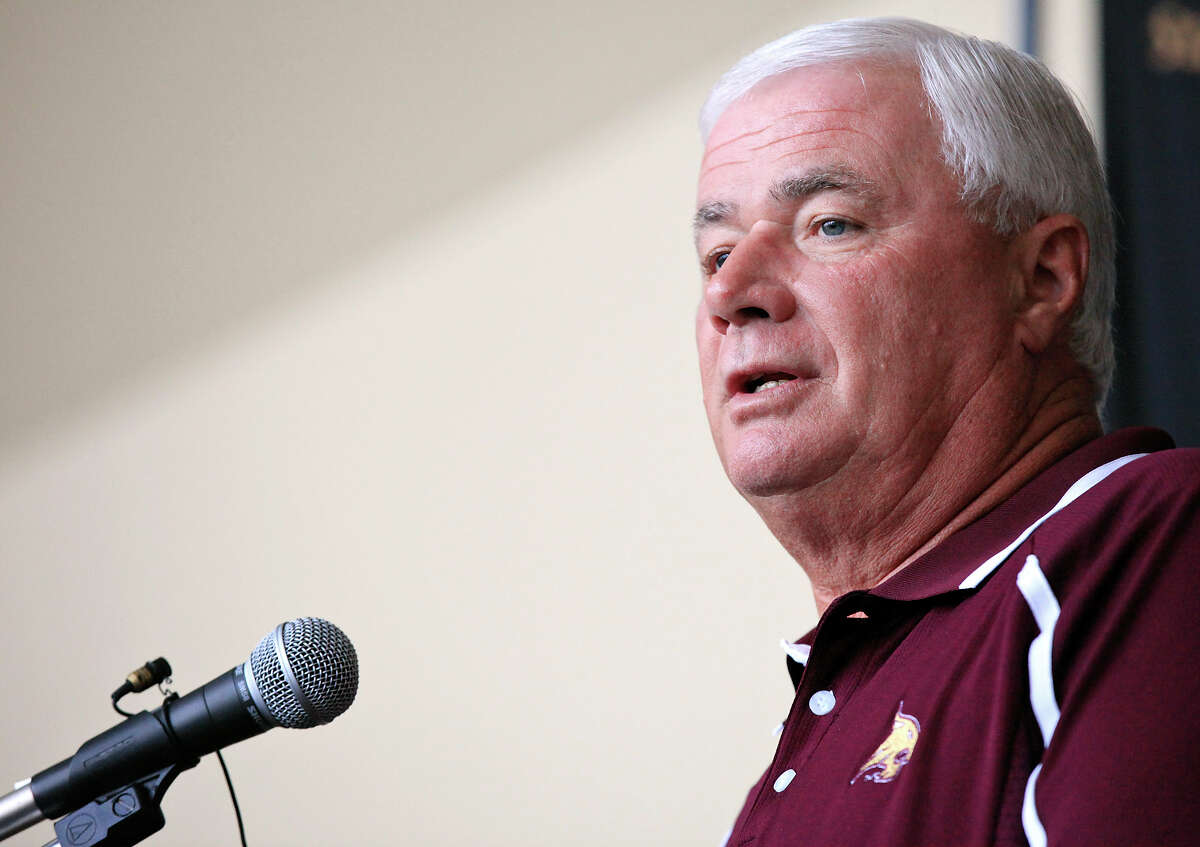 Texas State football head coach Dennis Franchione speaks during media day Sunday Aug. 11, 2013 at Bobcat Stadium in San Marcos, Tx.