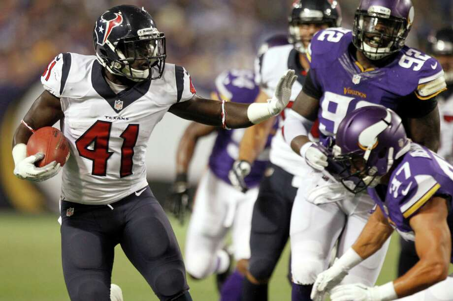 Texans rookie running back Cierre Wood (41) rushed for almost 6 yards per carry in his first NFL preseason game Friday night. Photo: Brett Coomer, Staff / © 2013  Houston Chronicle