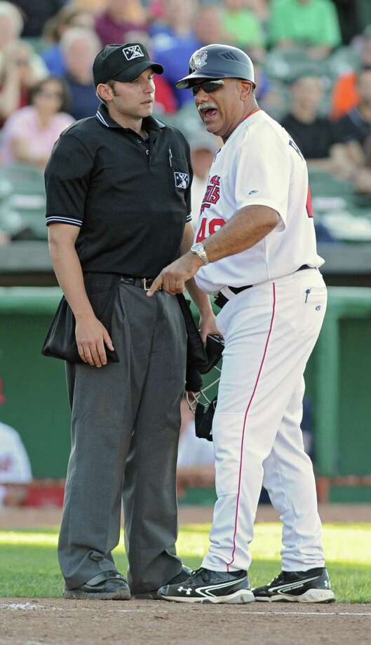 Tri-City ValleyCats Ed Romero argues with the umpire about a call at the plate moments before being thrown out of the game during a baseball game against Jamestown at Joe Bruno Stadium on Sunday, Aug. 11, 2013 in Troy, N.Y. (Lori Van Buren / Times Union) Photo: Lori Van Buren / 10023391A