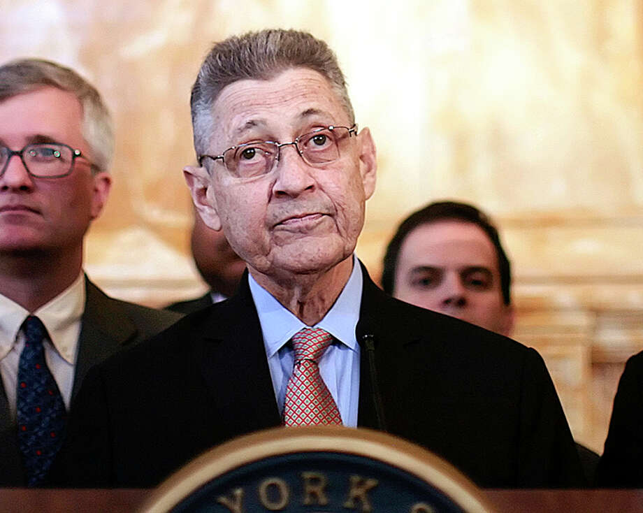 FILE -- New York State Assembly Speaker Sheldon Silver, center, during a news conference in Albany, N.Y., April 30, 2013. State ethics regulators on May 15 released a report that offered a scathing assessment of Silver and his staff, saying they shielded Assemblyman Vito Lopez from public scrutiny amid allegations against him by his staff of sexual harassment. (Nathaniel Brooks/The New York Times) Photo: NATHANIEL BROOKS / NYTNS